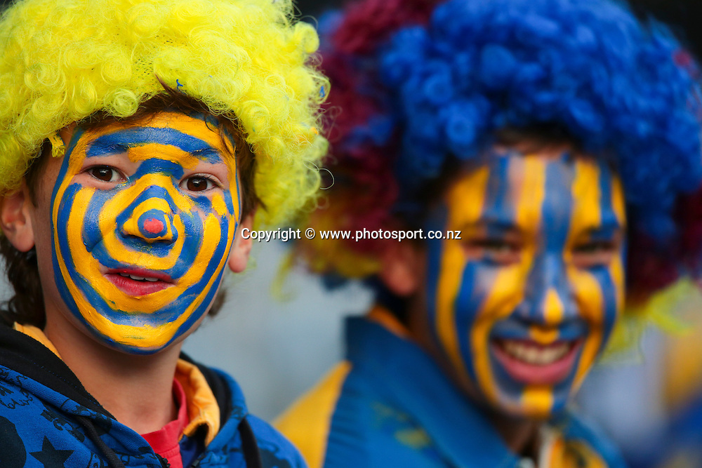 Face-painted supporter ahead of the Round 5 Super Rugby match between Otago Highlanders and Western Force at Forsyth Barr Stadium, Dunedin. 15 March 2014. Photo: Derek Morrison/www.photosport.co.nz