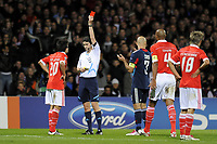 FOOTBALL - CHAMPIONS LEAGUE 2010/2011 - GROUP STAGE - GROUP B - OLYMPIQUE LYONNAIS v SL BENFICA - 20/10/2010 - PHOTO JEAN MARIE HERVIO / DPPI - RED CARD NICOLAS GAITAN (BEN) / ALBERTO UNDIANO MALLENCO (REFEREE)