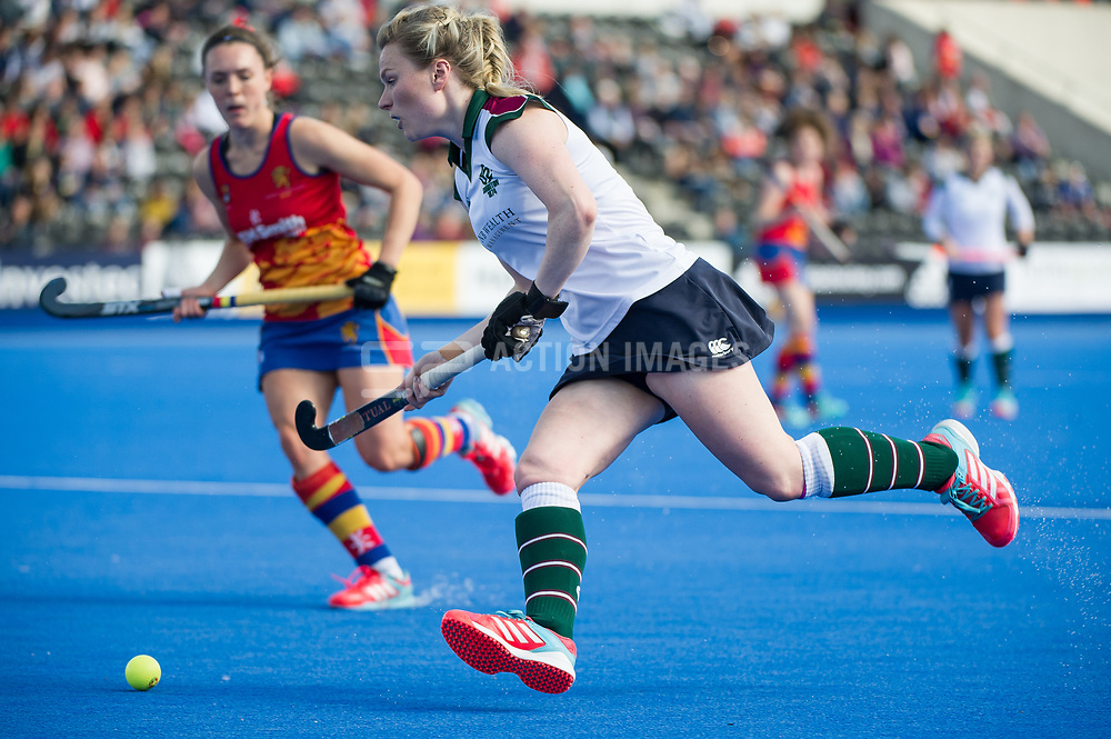 Surbiton's Hollie Webb. University of Birmingham v Surbiton - Semi-Final - Investec Women's Hockey League Finals, Lee Valley Hockey & Tennis Centre, London, UK on 22 April 2017. Photo: Simon Parker