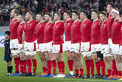 November 1, 2019, Tokyo, Japan: Players sing the national anthem of Wales before the Rugby World Cup 2019 Bronze Final between New Zealand and Wales at Tokyo Stadium. New Zealand defeats Wales 40-17. (Credit Image: © Rodrigo Reyes Marin/ZUMA Wire)