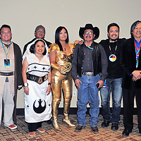 Navajo Star Wars Voice Actors honored at the 3rd Annual Indigenous Comic con, held at the Isleta Casino Nov 2, 2018. The voice actors were honored with honorary membership into the 501st Legion & the Rebel Legion. From left, Terry Teller, Luke Skywalker, Clarissa Yazzie-Garcia, Princess Leia, Anderson Kee, Obi Wan Kenobi, Geri Hongeva-Camarillo, C3PO, Marvin Yellowhair, Darth Vadar, James Junes, Han Solo & James Bilagody, Wilhuff Tarkin.  This was the first reunion of the voice actors since the movie was released 5 years ago