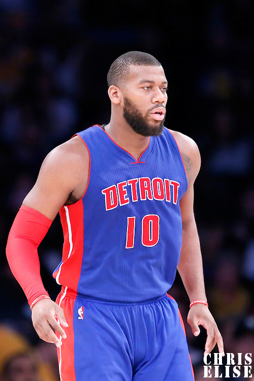 10 March 2015: Detroit Pistons forward Greg Monroe (10) is seen on defense during the Los Angeles Lakers 93-85 victory over the Detroit Pistons, at the Staples Center, Los Angeles, California, USA.