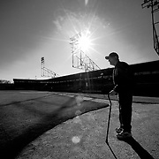 Virgil Trucks, the oldest living Detroit Tiger (in 2011), pictured at Rickwood Field, the oldest remaining professional ballpark.<br />