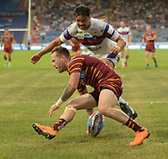 Jordan Rankin of Huddersfield Giants touches down to score the first try of the match during the Betfred Super League match at the John Smiths Stadium, Huddersfield<br /> Picture by Richard Land/Focus Images Ltd +44 7713 507003<br /> 27/07/2018