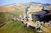 Corfe castle and the 'gap town' settlement of Corfe village, Dorset England