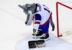 Mascot Goooly during ice-hockey match between Austria and Slovenia of Group G in Relegation Round of IIHF 2011 World Championship Slovakia, on May 7, 2011 in Orange Arena, Bratislava, Slovakia. (Photo By Vid Ponikvar / Sportida.com)