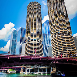 Photo of Chicago Marina City Corncob buildings with State Street Bridge. Marina City is frequently called the Chicago Corn Cob buildings due to their resemblence to corncobs.
