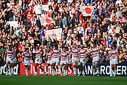Japan players celebrate their win and thank their fans during the Rugby World Cup Pool B match between Samoa and Japan at stadium:mk, Milton Keynes, England on 3 October 2015. Photo by David Charbit.