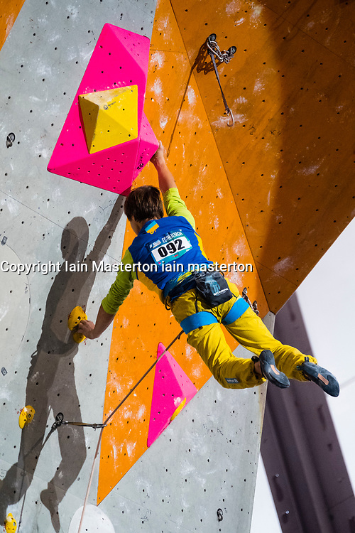 Fedir Samoilov of Ukraine competes inMwn Lead event at the International Federation of Sport Climbing (IFSC) World Cup 2017 at Edinburgh International Climbing Arena, Scotland, United Kingdom.