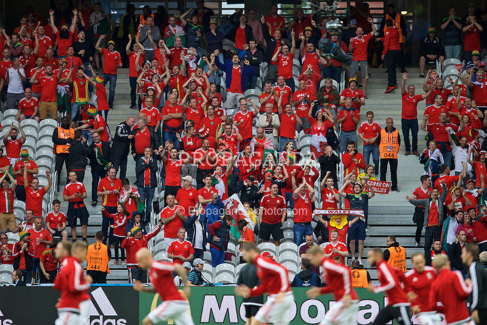 LILLE, FRANCE - Friday, July 1, 2016: Wales supporters before the UEFA Euro 2016 Championship Quarter-Final match against Belgium at the Stade Pierre Mauroy. (Pic by David Rawcliffe/Propaganda)