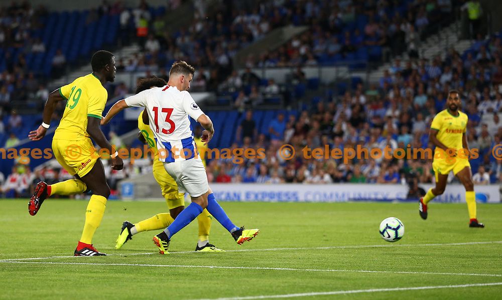 Pascal Gross of Brighton scores during the pre season friendly between Brighton and Hove Albion and FC Nantes at the American Express Community Stadium in Brighton. 03 Aug 2018