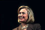 US first lady Hillary Clinton during an event on smarter television watching at the White House February 25, 1997 in Washington, DC.