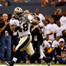 August 21, 2010; New Orleans, LA, USA; New Orleans Saints running back Chris Ivory (48) during warm ups prior to kickoff of a preseason game against the Houston Texans at the Louisiana Superdome. Mandatory Credit: Derick E. Hingle