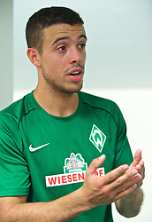 01.07.2015, Weserstadion, Bremen, GER, 1. FBL, SV Werder Bremen, Trainingsauftakt, im Bild Franco Matías Di Santo / Franco Matias Di Santo (SV Werder Bremen #9) beim Interview // during a Trainingssession of German Bundesliga Club SV Werder Bremen at the Weserstadion in Bremen, Germany on 2015/07/01. EXPA Pictures © 2015, PhotoCredit: EXPA/ Andreas Gumz<br /> <br /> *****ATTENTION - OUT of GER*****