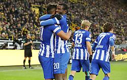 21.12.2013, Signal Iduna Park, Dortmund, GER, 1. FBL, Borussia Dortmund vs Hertha BSC, 17. Runde, im Bild Adrian Ramos Vasquez #20 (Hertha BSC Berlin) beim Torjubel nach seinem Treffer zum 1:1 mit Sami Aallagui #11 (Hertha BSC Berlin), Emotion, Freude, Glueck, Positiv // during the German Bundesliga 17th round match between Borussia Dortmund and Hertha BSC at the Signal Iduna Park in Dortmund, Germany on 2013/12/21. EXPA Pictures © 2013, PhotoCredit: EXPA/ Eibner-Pressefoto/ Schueler<br /> <br /> *****ATTENTION - OUT of GER*****