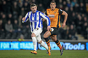 Gary Hooper (Sheffield Wednesday) and Jake Livermore (Hull City) during the Sky Bet Championship match between Hull City and Sheffield Wednesday at the KC Stadium, Kingston upon Hull, England on 26 February 2016. Photo by Mark P Doherty.