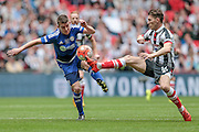 Craig Clay (Grimsby Town) controls the ball during the FA Trophy match between Grimsby Town FC and Halifax Town at Wembley Stadium, London, England on 22 May 2016. Photo by Mark P Doherty.