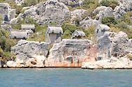 Ucagiz: ancient Lycian tombs near Kalekoy<br /> south coast, Turkey<br /> c. Ellen Rooney