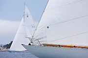 Gleam and Columbia,  sailing in the Robert H. Tiedemann Classic Yachting Weekend race 1.