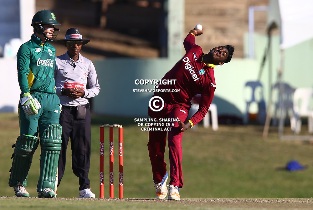 Matthew Patrick of the West Indies Under-19s during the 5th unofficial ODI match between South Africa Under-19s and West Indies Under-19s Chatsworth Stadium, Durban 19th July 2017(Photo by Steve Haag)<br /> <br /> images for social media must have consent from Steve Haag
