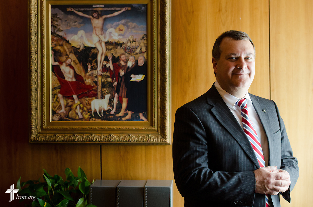 Portrait of Dr. Lawrence R. Rast, Jr., president of Concordia Theological Seminary, in his office on Monday, Jan. 20, 2014, in Fort Wayne, Ind. LCMS Communications/ Erik M. Lunsford