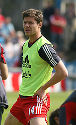 Portsmouth, England: Saturday, April 28, 2007: Liverpool's Xabi Alonso warms up against Portsmouth during the Premiership match at Fratton Park (Pic by Chris Ratcliffe/Propaganda)
