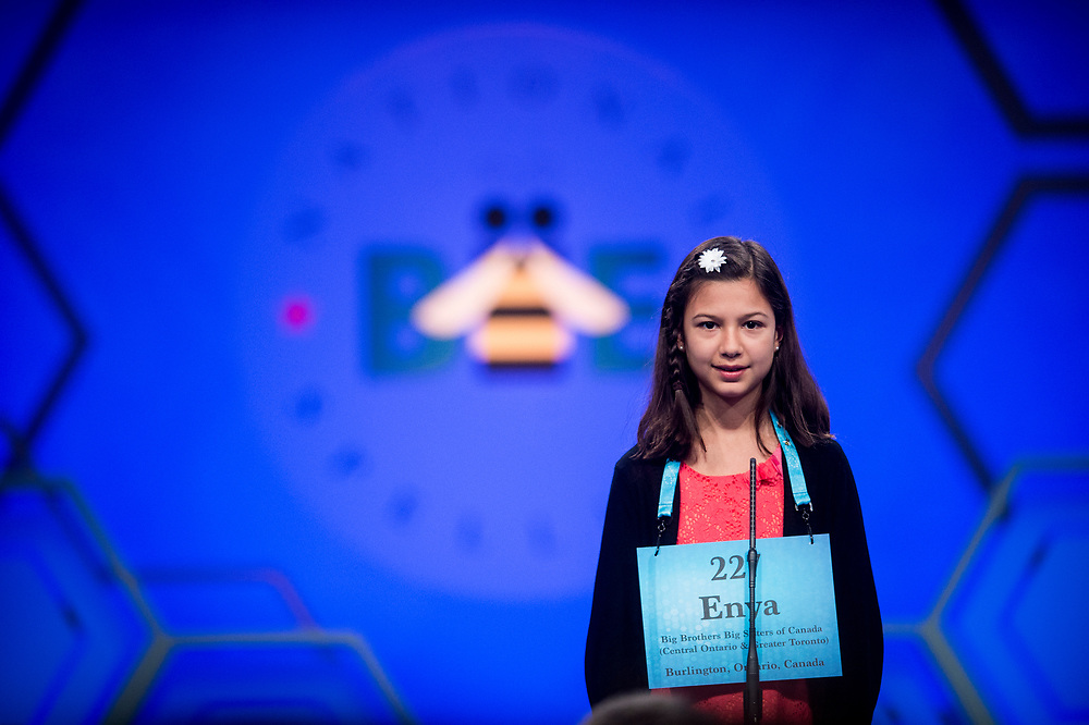 Enya Hubers, 11, from Burlington, Ontario, Canada, participates in the finals of the 2017 Scripps National Spelling Bee on Thursday, June 1, 2017 at the Gaylord National Resort and Convention Center at National Harbor in Oxon Hill, Md.      Photo by Pete Marovich/UPI