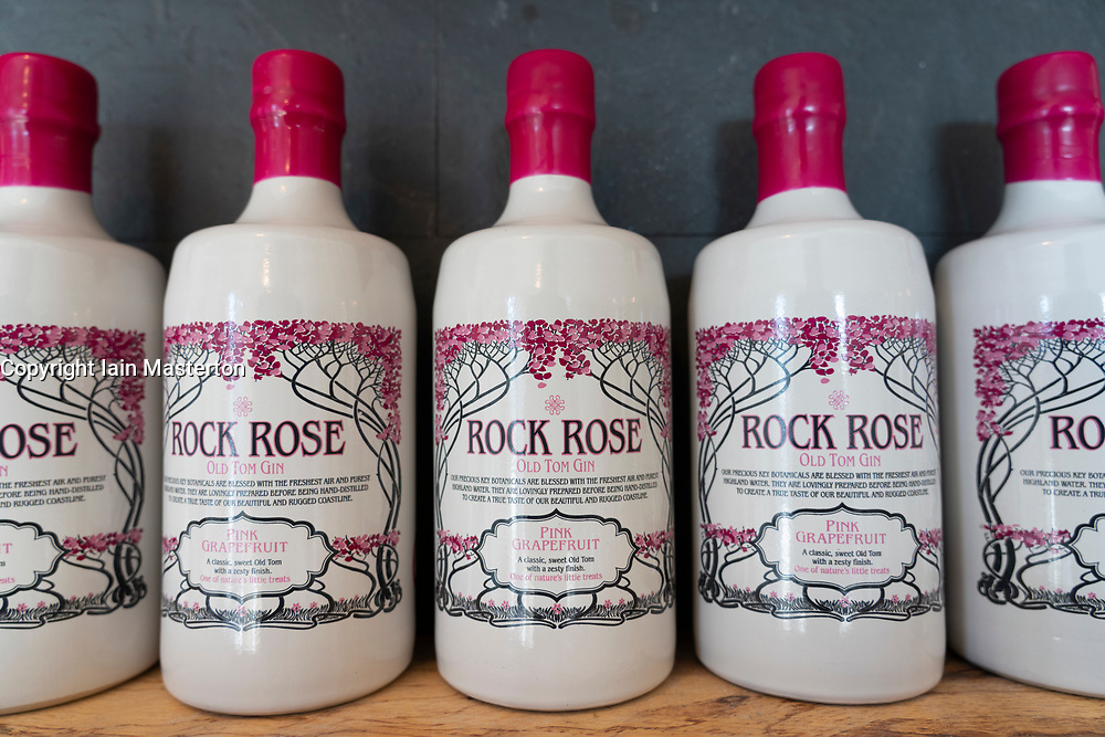 Bottles of Rock Rose Gin at Dunnet Bay Distillery in Caithness on  the North Coast 500 scenic driving route in northern Scotland, UK