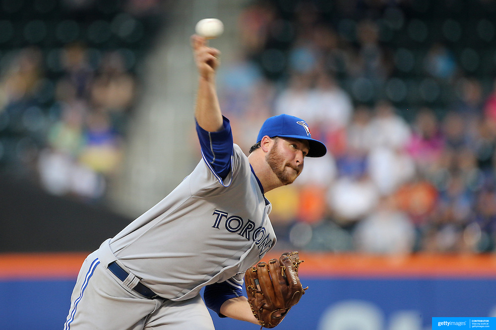 Pitcher Scott Copeland, Toronto Blue Jays,  pitching during the New York Mets Vs Toronto Blue Jays MLB regular season baseball game at Citi Field, Queens, New York. USA. 16th June 2015. Photo Tim Clayton