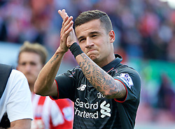 STOKE-ON-TRENT, ENGLAND - Sunday, August 9, 2015: Liverpool's match-winning goal-scorer applauds the supporters after the 1-0 victory over Stoke City during the Premier League match at the Britannia Stadium. (Pic by David Rawcliffe/Propaganda)