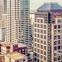 Indianapolis aerial retro panorama picture with downtown Indianapolis city office buildings and skyscrapers including Chase Tower, OneAmerica Tower, One Indiana Square (Regions building), Market Tower (Key Bank building), and BMO Plaza. Panoramic ratio is 1:3.