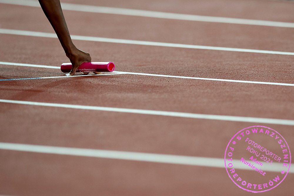 Great Britain, London - 2017 August 13: Hand with stick leans on the track before women's 4x400 meters relay final during IAAF World Championships London 2017 Day 10 at London Stadium on August 13, 2017 in London, Great Britain.<br /> <br /> Mandatory credit:<br /> Photo by © Adam Nurkiewicz<br /> <br /> Adam Nurkiewicz declares that he has no rights to the image of people at the photographs of his authorship.<br /> <br /> Picture also available in RAW (NEF) or TIFF format on special request.<br /> <br /> Any editorial, commercial or promotional use requires written permission from the author of image.
