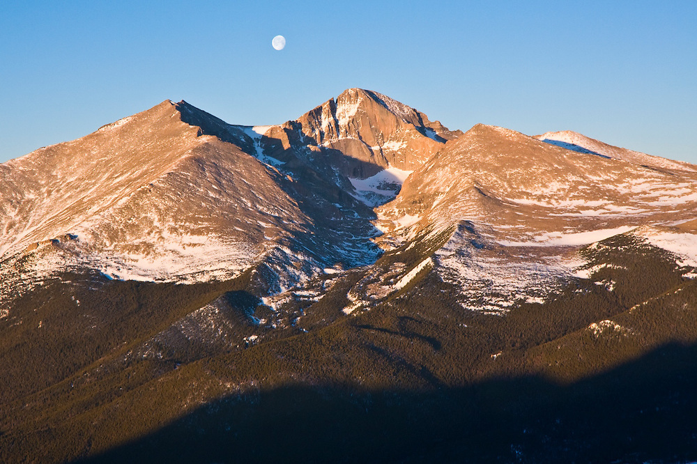 Moon over Longs Peak at sunrise, Rocky Mountain National Park, Colorado.