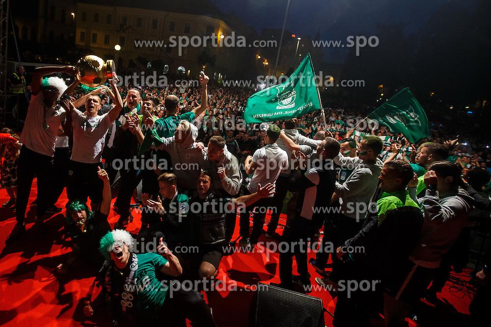 Players of NK Olimpija with trophy during Celebration of NK Olimpija Ljubljana after they won Prva Liga competition, Kongresni trg, Ljubljana, Slovenia. Photo by Grega Valancic / Sportida
