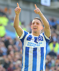 Anthony Knockaert  of Brighton & Hove Albion celebrates after he scores to make it 2-1 - Mandatory by-line: Paul Terry/JMP - 02/04/2016 - FOOTBALL - Amex Stadium - Brighton, England - Brighton and Hove Albion v Burnley - Sky Bet Championship