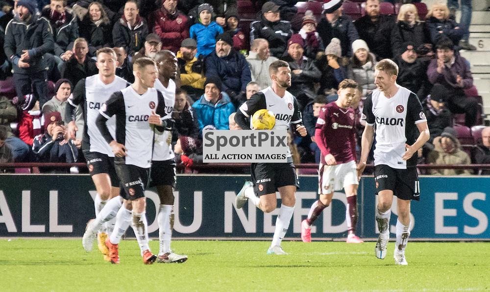 Dundee United's Scott Fraser celebrates pulling one back to make it 3-2 to Hearts......(c) MARK INGRAM | SportPix.org.uk