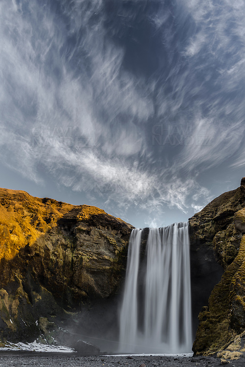 Skogafoss waterfall during the winter morning, Southern Iceland