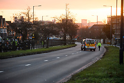 © Licensed to London News Pictures. 11/02/2019. London, UK. Road closures in both directions on the A40 at The scene where two people have died and a third was injured in a collision with a coach in Acton, West LondonPhoto credit: Ben Cawthra/LNP