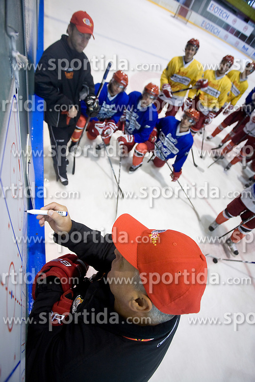 Dejan Varl and coach Ildar Rahmatullin at practice after HK Acroni Jesenice Team roaster for 2009-2010 season,  on September 03, 2009, in Arena Podmezaklja, Jesenice, Slovenia.  (Photo by Vid Ponikvar / Sportida)