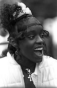 Woman laughing at Notting Hill Carnival, 1994.