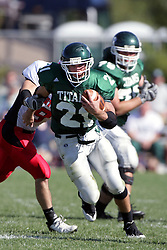 04 October 2008: Bo Lanter makes his way up field in a battle between the Carthage Red Men and the Illinois Wesleyan University Titans, Game action was at Wilder Field on the campus of Illinois Wesleyan University in Bloomington Illinois.