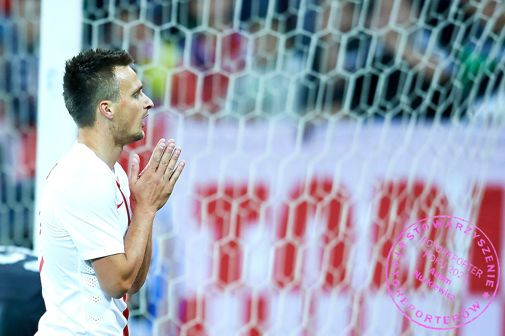 Slawomir Peszko from Poland gestures during international friendly soccer match between Poland and Greece at PGE Arena Stadium on June 16, 2015 in Gdansk, Poland.<br /> Poland, Gdansk, June 16, 2015<br /> <br /> Picture also available in RAW (NEF) or TIFF format on special request.<br /> <br /> For editorial use only. Any commercial or promotional use requires permission.<br /> <br /> Adam Nurkiewicz declares that he has no rights to the image of people at the photographs of his authorship.<br /> <br /> Mandatory credit:<br /> Photo by &copy; Adam Nurkiewicz / Mediasport