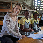 Journalist Monika Lembke at the Pyramide School in Leogane. The school was damaged by the earthquake.CARE is supporting the school with water and sanitation programs like building latrines and hand washing stations.
