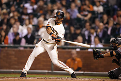 SAN FRANCISCO, CA - APRIL 18:  Angel Pagan #16 of the San Francisco Giants hits a double against the Arizona Diamondbacks during the second inning at AT&T Park on April 18, 2016 in San Francisco, California.  (Photo by Jason O. Watson/Getty Images) *** Local Caption *** Angel Pagan