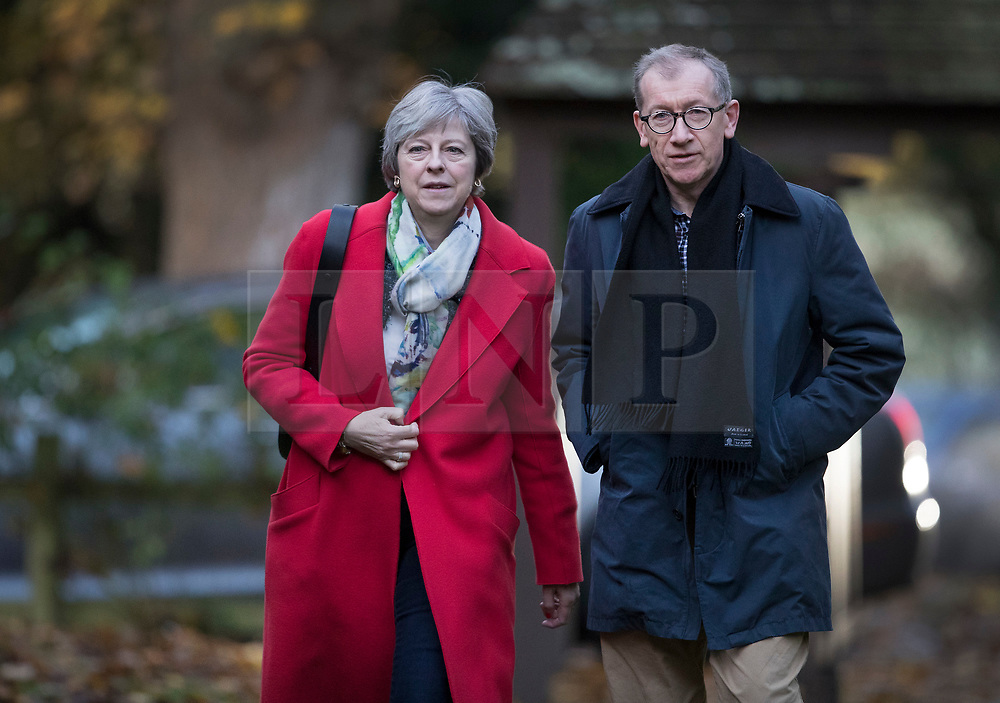 © Licensed to London News Pictures. 19/11/2017. UK. Prime Minister Theresa May attends church. Photo credit: Peter Macdiarmid/LNP
