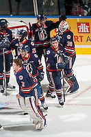 KELOWNA, CANADA - MARCH 26: The Kamloops Blazers celebrate the win against the Kelowna Rockets on March 26, 2016 at Prospera Place in Kelowna, British Columbia, Canada.  (Photo by Marissa Baecker/Shoot the Breeze)  *** Local Caption *** win;