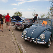 A 1959 Volkswagen during a classic cars show on historic U.S. Route 66. The Mother Road starts in Chicago traveling through 6 states and ending in Santa Monica, California.<br /> Photography by Jose More
