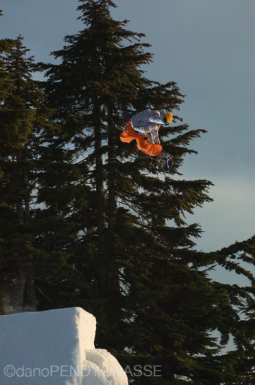 Professional snowboarder Eric Jackson rides at Mt. Seymour, near Vancouver, British Columbia, Canada.