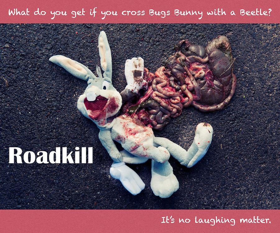 Bugs Bunny as roadkill