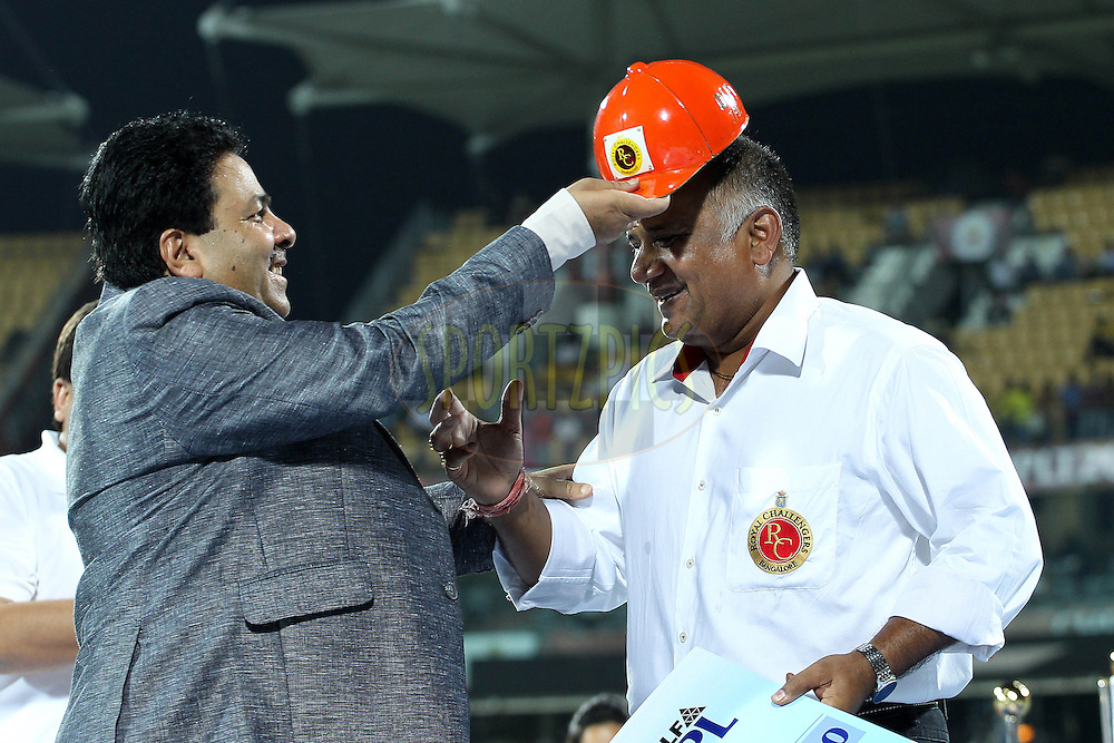 George accepts the orange cap on behalf of Chris Gayle during the final of the Indian Premier League ( IPL ) 2012  between The Kolkata Knight Riders and the Chennai Superkings held at the M. A. Chidambaram Stadium, Chennai on the 27th May 2012..Photo by Ron Gaunt/IPL/SPORTZPICS